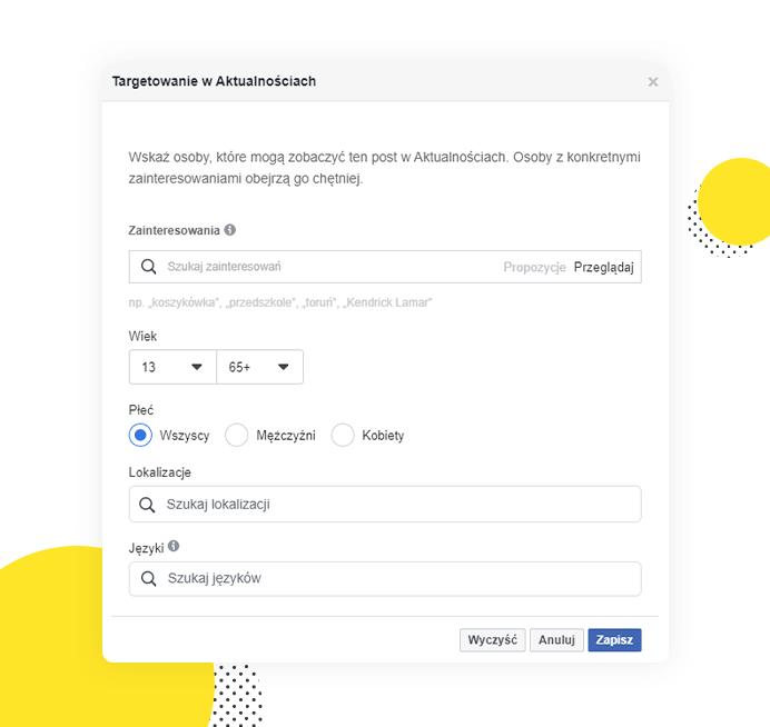 Opcja bezpłatnego targetowania postów naFacebooku