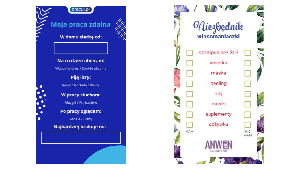 Jak prowadzić instagrama: Instaplansze przykłady Anwen ipracuj.pl