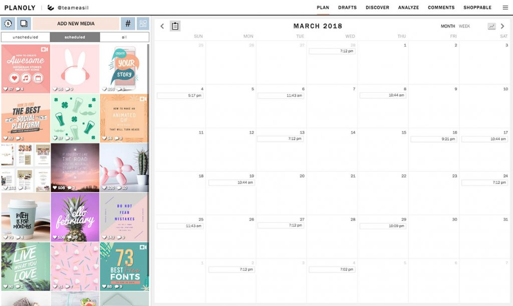Planowanie postów naInstagramie Aplikacja Planoly zrzut ekranu