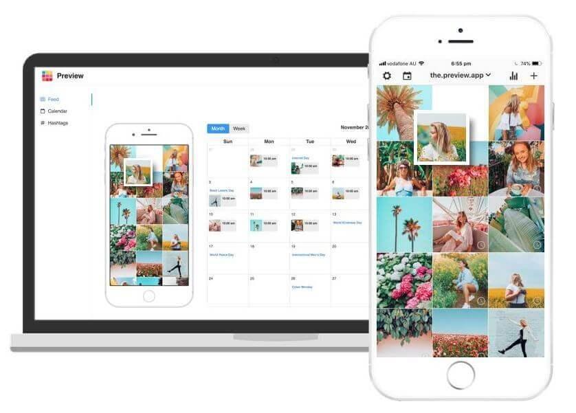 Planowanie postów naInstagramie Aplikacja Preview zrzut ekranu
