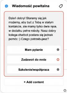 screen 8 boty wiadomość powitalna
