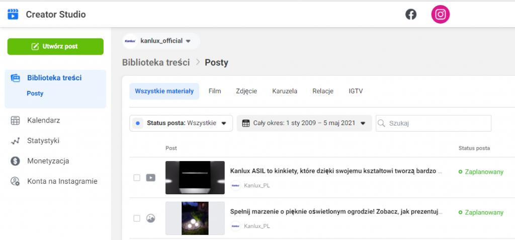Planowanie postów naInstagramie Zrzut ekranu Creator Studio Facebook