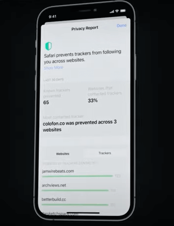 Zrzut ekranu apple privacy report